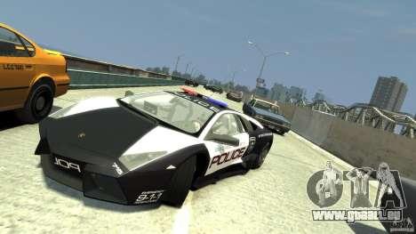 Lamborghini Reventon Police Hot Pursuit für GTA 4 Rückansicht