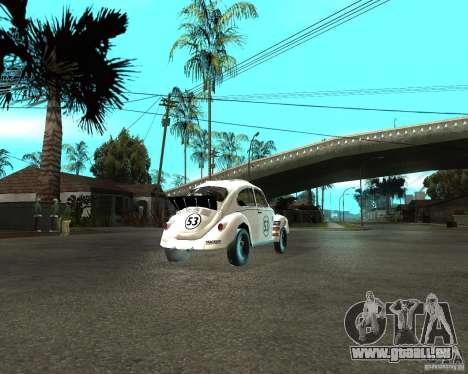 Volkswagen Beetle Herby pour GTA San Andreas sur la vue arrière gauche