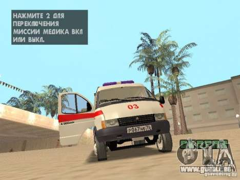 Ambulance Gazelle 2705 pour GTA San Andreas vue intérieure