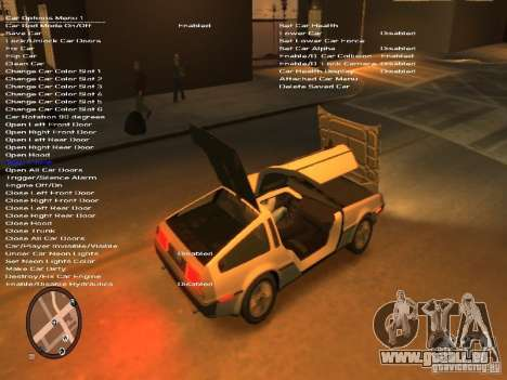 De Lorean DMC 12 pour GTA 4 est une vue de l'intérieur