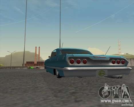 Chevrolet Impala 1963 lowrider pour GTA San Andreas vue arrière
