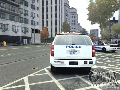 Chevrolet Tahoe NYCPD pour GTA 4 Vue arrière
