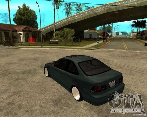 Honda Civic Coupe V-Tech für GTA San Andreas zurück linke Ansicht