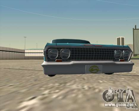 Chevrolet Impala 1963 lowrider pour GTA San Andreas vue intérieure