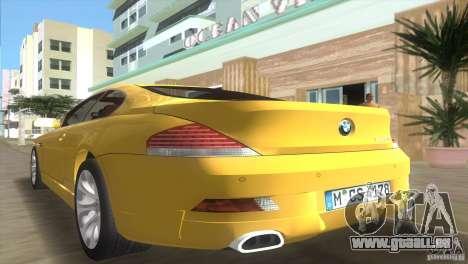 BMW 645Ci pour une vue GTA Vice City de l'intérieur