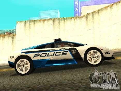 Lamborghini Murcielago LP640 Police V1.0 pour GTA San Andreas laissé vue