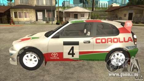 Toyota Corolla 1999 Rally Champion für GTA San Andreas rechten Ansicht