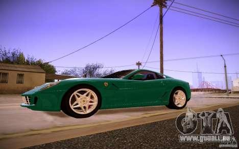 Ferrari 599 GTB Fiorano 2010 pour GTA San Andreas sur la vue arrière gauche