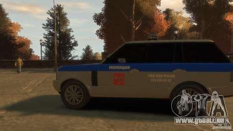 Land Rover Range Rover Police pour GTA 4 Vue arrière