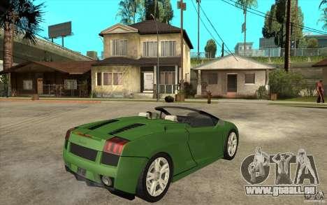 Lamborghini Gallardo Spyder pour GTA San Andreas vue de droite