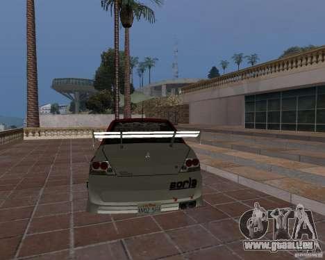 Mitsubishi Lancer Evolution VIII pour GTA San Andreas vue de dessus