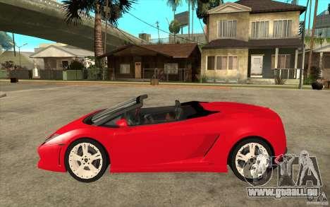Lamborghini Gallardo LP560 Spider pour GTA San Andreas laissé vue