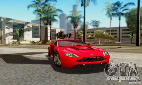 Aston Martin V12 Vantage pour GTA San Andreas sur la vue arrière gauche