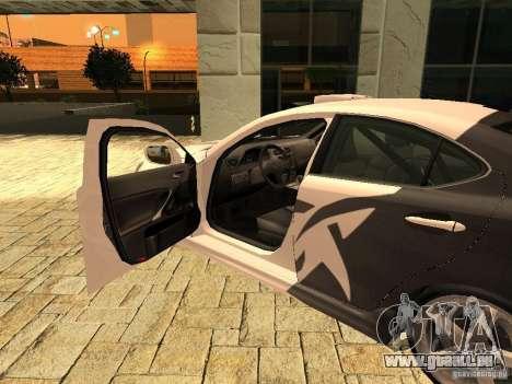 Lexus IS 350 für GTA San Andreas zurück linke Ansicht