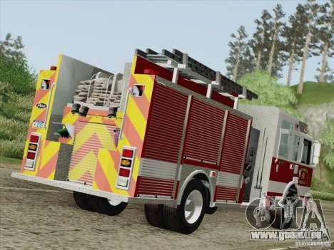 Pierce Pumpers. San Francisco Fire Departament für GTA San Andreas rechten Ansicht