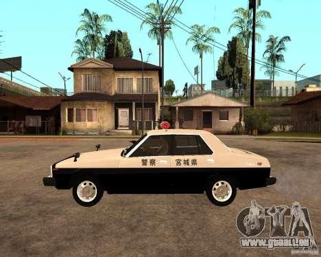Nissan Skyline 2000 GT Police pour GTA San Andreas laissé vue