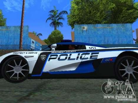Koenigsegg CCX Police pour GTA San Andreas vue de droite