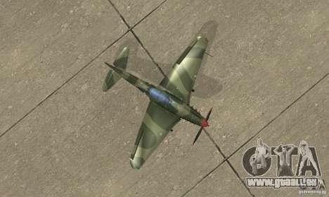 Yak-9 pendant la seconde guerre mondiale pour GTA San Andreas vue de droite