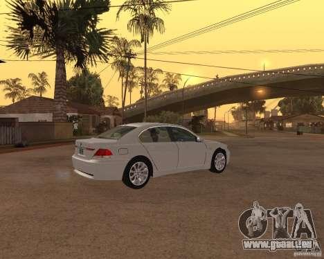 BMW 760I 2002 für GTA San Andreas zurück linke Ansicht