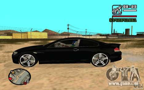 BMW M6 2006 pour GTA San Andreas sur la vue arrière gauche