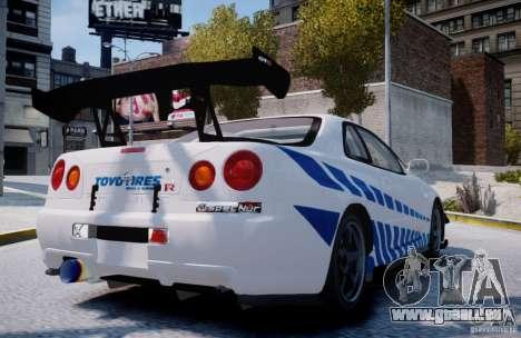Nissan Skyline GT-R R34 2F2F für GTA 4 hinten links Ansicht