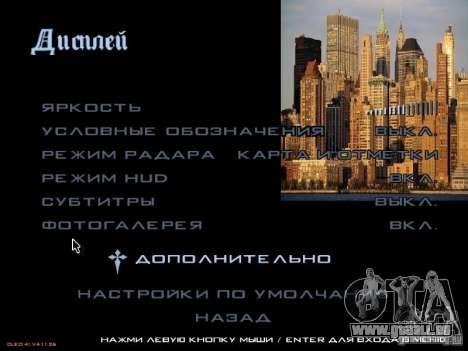 Nouveau menu dans le style de New York pour GTA San Andreas cinquième écran