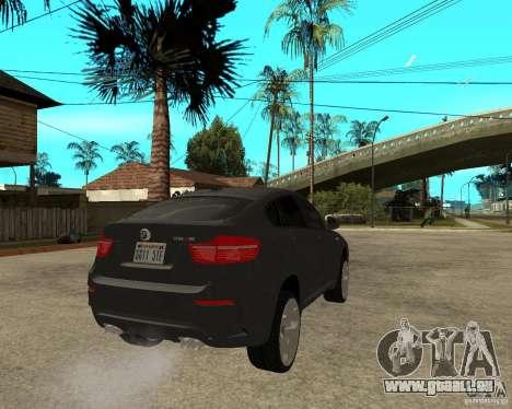 BMW X6 M pour GTA San Andreas sur la vue arrière gauche