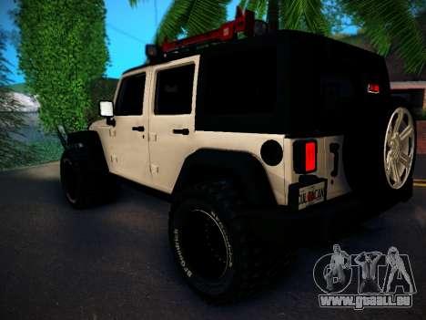 Jeep Wrangler 4x4 pour GTA San Andreas sur la vue arrière gauche