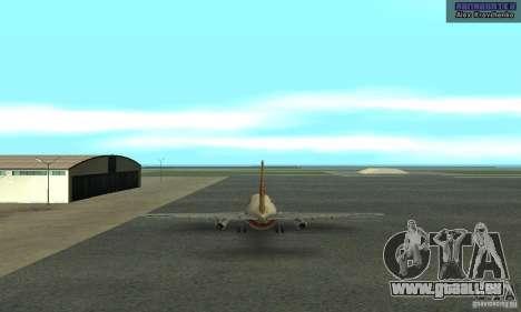 Boeing 737-100 pour GTA San Andreas sur la vue arrière gauche