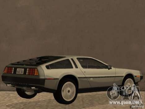 DeLorean DMC-12 für GTA San Andreas zurück linke Ansicht