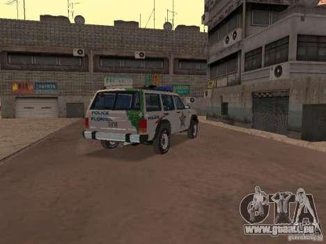 Jeep Cherokee Police 1988 pour GTA San Andreas vue de droite