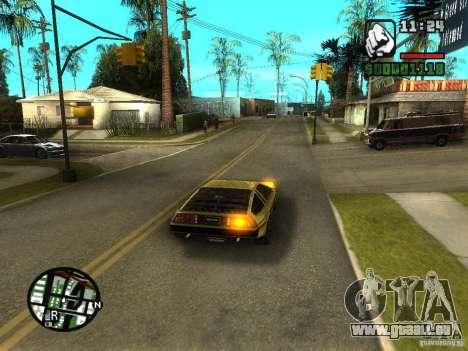 Golden DeLorean DMC-12 pour GTA San Andreas sur la vue arrière gauche