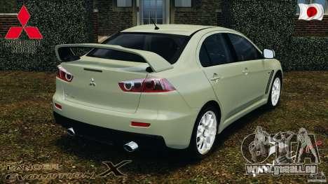 Mitsubishi Lancer Evolution X 2007 pour GTA 4 Vue arrière de la gauche