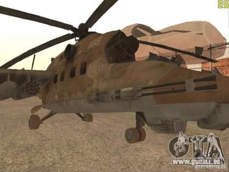 Mi-24p Desert Camo pour GTA San Andreas laissé vue