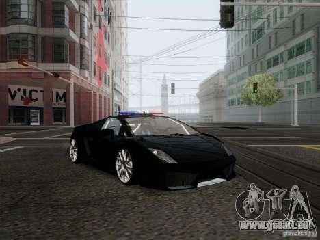 Lamborghini Gallardo LP-560 Police pour GTA San Andreas sur la vue arrière gauche