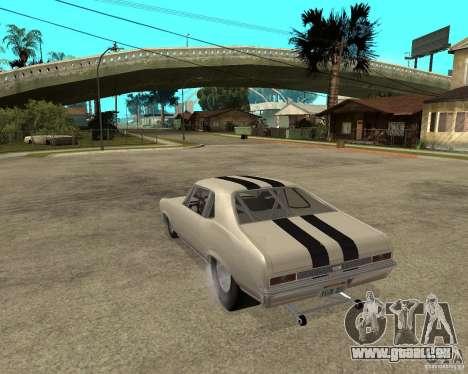 1969 Chevrolet Nova ProStreet Dragger pour GTA San Andreas laissé vue