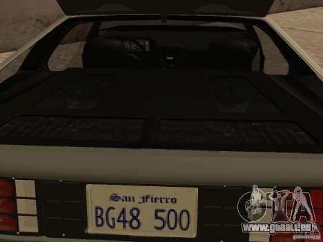 DeLorean DMC-12 für GTA San Andreas obere Ansicht