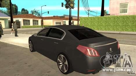 Peugeot 508 2011 EU plates pour GTA San Andreas sur la vue arrière gauche