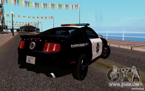 Ford Shelby Mustang GT500 Civilians Cop Cars pour GTA San Andreas vue de droite