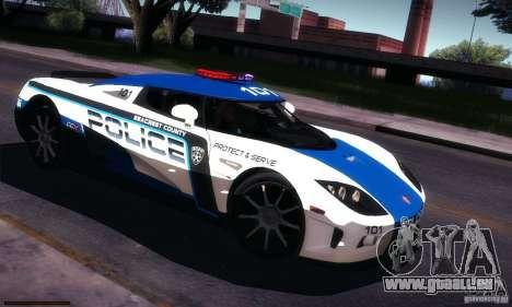 Koenigsegg CCX Police pour GTA San Andreas vue de côté