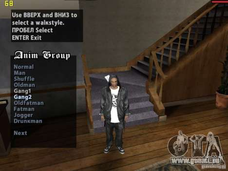 Walk style pour GTA San Andreas deuxième écran