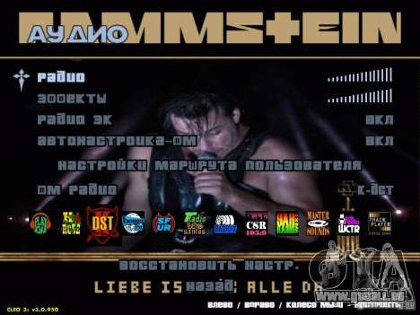 Rammstein-Menü für GTA San Andreas zweiten Screenshot