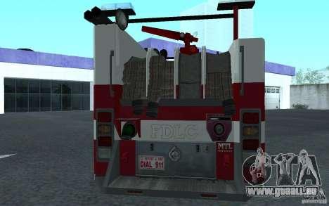 FIRETRUCK pour GTA San Andreas vue de droite