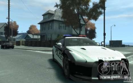 Nissan GT-R R35 Police pour GTA 4 Vue arrière