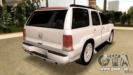 Cadillac Escalade pour GTA Vice City sur la vue arrière gauche