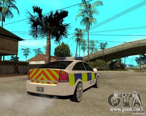 2005 Opel Vectra Police für GTA San Andreas zurück linke Ansicht