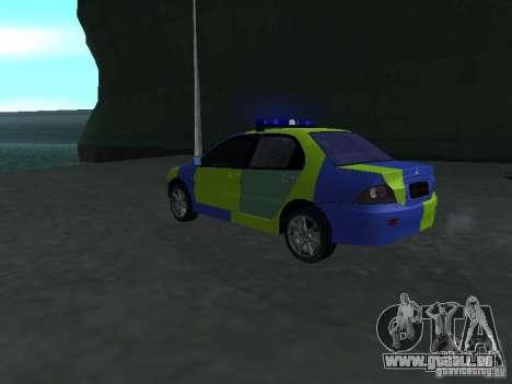 Mitsubishi Lancer-Polizei für GTA San Andreas linke Ansicht