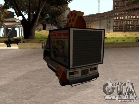 Sweeper Pizza Boy pour GTA San Andreas sur la vue arrière gauche