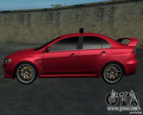 Mitsubishi Lancer Evolution X MR1 v2.0 für GTA San Andreas linke Ansicht
