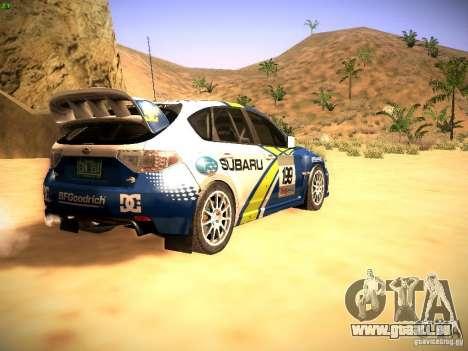Subaru impreza Tarmac Rally pour GTA San Andreas vue de droite